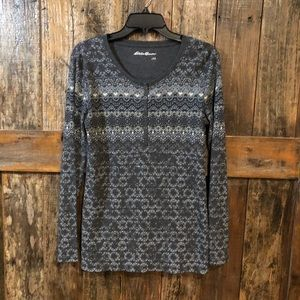 Eddie Bauer, L, Gray Long Sleeve V-Neck Sweater